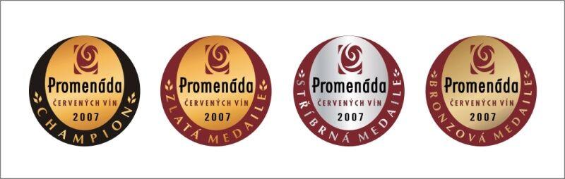 Promenáda červených vín - medaile na láhve